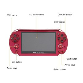 Image Console Portable Pour Enfants 300 Jeux Intégrés 4.3 Rouge
