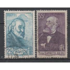France 1938/1939: Lot de 2 timbres sur des personnages célèbres, N° 378 et 421