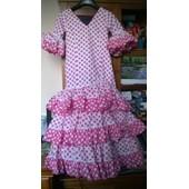 3c54fce2efbd5 Robe Flamenco 8 Ans - 12 Ans Blanc Rose Excellent Etat