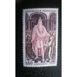 TIMBRE FRANCE (YT 1497 ) 1966 Histoire de France Charlemagne (742-814)
