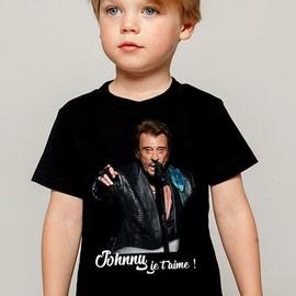T-Shirt Enfant noir Fan de ... Johnny Hallyday je t'aime