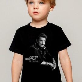 T-Shirt Enfant noir Fan de ... Johnny Hallyday de l'amour