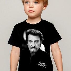 T-Shirt Enfant noir Fan de ... Johnny Hallyday pour toujours