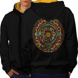Aztec Traditionnel Men Contrast Hoodie Back | Wellcoda