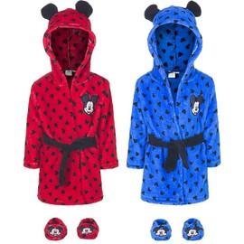 c0e08846105ed Robe De Chambre À Capuche Mickey Mouse Oreilles Sur Le Capot Bébé Garçon En  Bleu T