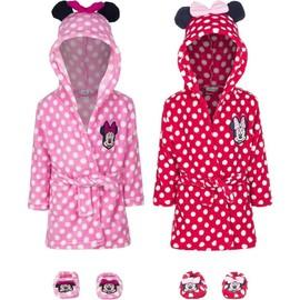 4fdfd88188dda Robe De Chambre À Capuche Minnie Mouse Oreilles Sur Le Capot Bébé Fille En  Rouge T