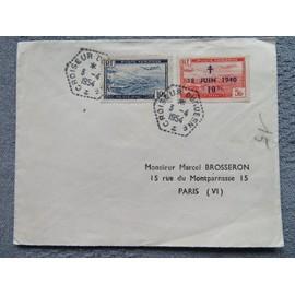 Enveloppe avec 2 timbres poste aérienne d'Algérie oblitération croiseur Duquesne
