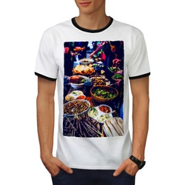 Traditionnel Dîner Aliments Homme T-shirt à sonnerie | Wellcoda