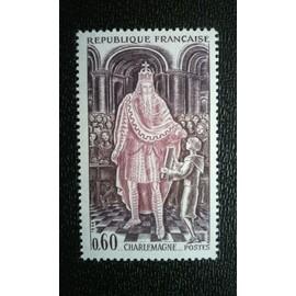 TIMBRE FRANCE ( YT 1497 ) 1966 Histoire de France Charlemagne (742-814)