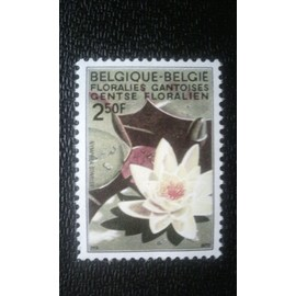 TIMBRE BELGIQUE ( YT 1524 ) 1970 Exposition de fleurs Gand Nymphea azalia indica