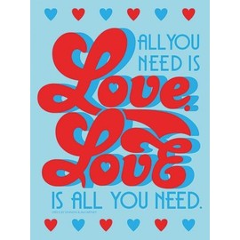 The Beatles Poster Reproduction Sur Toile, Tendue Sur Châssis - Lyrics By Lennon & Mccartney, All You Need Is Love, Retro (80x60 cm)