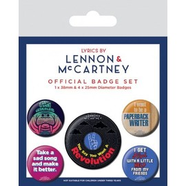 The Beatles Paquet De Badges - Lyrics By Lennon & McCartney (15x10 cm)
