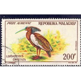 Timbre de poste aérienne de Madagascar (Oiseau, jhis huppé)