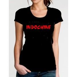 T-shirt indochine noir pour femme logo taille XS S M L XL 2XL 3XL