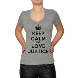 Keep Calm And Love Justice Femme T-Shirt V-Col Gris Manches Courtes Toutes Les Tailles Women's V-Neck Grey All Sizes