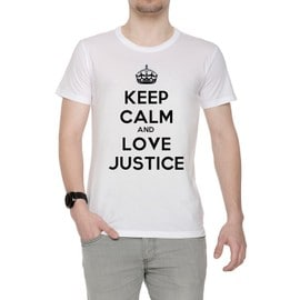 Keep Calm And Love Justice Homme T-Shirt Cou D'équipage Blanc Manches Courtes Toutes Les Tailles Men's White All Sizes