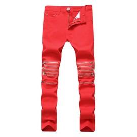 1364a01519f Jeans Homme Déchiré Fashion Slim Fit Stretch Pantalon Denim Avec Zipper 5  Poches Blanc Et Rouge