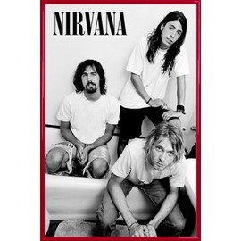 Poster encadré: Nirvana - Bathroom (91x61 cm), Cadre Plastique, Rouge