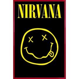 Poster encadré: Nirvana - Smiley (91x61 cm), Cadre Plastique, Rouge