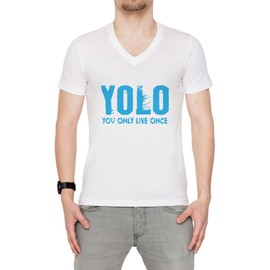 Yolo You Only Live Once Homme T-Shirt V-Col Blanc Manches Courtes Toutes Les Tailles Men's V-Neck White All Sizes