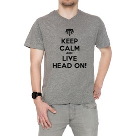 Keep Calm And Live Head On Homme T-Shirt V-Col Gris Manches Courtes Toutes Les Tailles Men's V-Neck Grey All Sizes