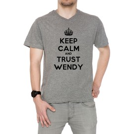 Keep Calm And Trust Wendy Homme T-Shirt V-Col Gris Manches Courtes Toutes Les Tailles Men's V-Neck Grey All Sizes