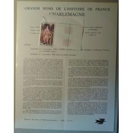 Notice Philatélique Ministère des Postes de Télécommunications 1966 n°27 Timbre n°1497 YT Charlemagne Coin de Feuille Oblitéré