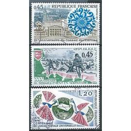 france, joli lot 1974, yvert 1792 25 ans du conseil de l'europe, 179930 ans du débarquement de normandie et 1817, 100 ans de l'union postale universelle, obli. TBE