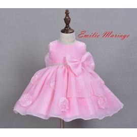 18614add0d57d Robe De Princesse Robe De Soirée Pour Bébé Fille Rose Orné Fleurs  3mois-24mois-