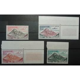 Lot 4 Timbres Poste Aérienne Andorre 1961 1964 Yvert et Tellier n°PA 5, 6 (CdF), 7 (CdF) et 8 (BdF) Vallée d'Inclès Neufs**