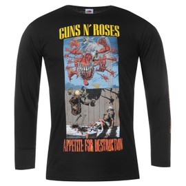Official Guns N Roses Maillot Avec Longues Manches T-shirt Top Tee Hommes