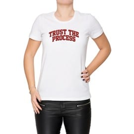 Trust The Process Ttp Femme T-Shirt Cou D'équipage Blanc Manches Courtes Taille S Women's White Small Size S