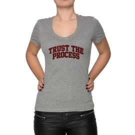 Trust The Process Ttp Femme T-Shirt V-Col Gris Manches Courtes Taille S Women's V-Neck Grey Small Size S