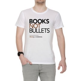 Books Not Bullets, March For Our Lives Homme T-Shirt Cou D'équipage Blanc Manches Courtes Taille S Men's White Small Size S
