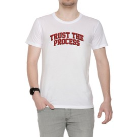 Trust The Process Ttp Homme T-Shirt Cou D'équipage Blanc Manches Courtes Taille S Men's White Small Size S