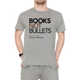 Books Not Bullets, March For Our Lives Homme T-Shirt Cou D'équipage Gris Manches Courtes Taille S Men's Grey Small Size S