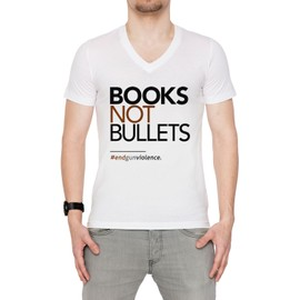 Books Not Bullets, March For Our Lives Homme T-shirt V-Col Blanc Manches Courtes Taille S Men's V-Neck White Small Size S