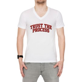 Trust The Process Ttp Homme T-shirt V-Col Blanc Manches Courtes Taille S Men's V-Neck White Small Size S