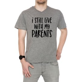 I Still Live With My Parents Homme T-Shirt V-Col Gris Manches Courtes Taille S Men's V-Neck Grey Small Size S