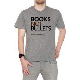 Books Not Bullets, March For Our Lives Homme T-Shirt V-Col Gris Manches Courtes Taille S Men's V-Neck Grey Small Size S