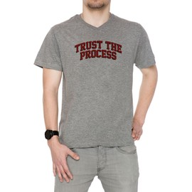 Trust The Process Ttp Homme T-Shirt V-Col Gris Manches Courtes Taille S Men's V-Neck Grey Small Size S