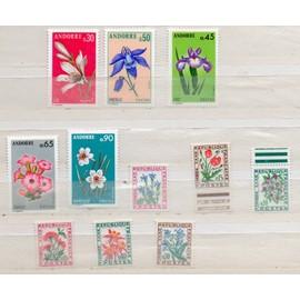 Andorre- Lot de 5 timbres neufs et 6 timbres taxe- Fleurs