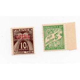 Algérie- Lot de 2 timbres TAXE neufs- N°T32 et N° T33- Faciale 5f et faciale 10C