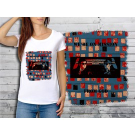 T-Shirt Blanc Femme Collection Films Cultes 09 Blues Brothers