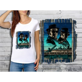 T-Shirt Blanc Femme Collection Films Cultes 10 Blues Brothers