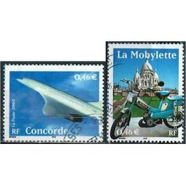 france 2002, le siècle au fil du timbre, transports, beaux exemplaires yvert 3471 avion concorde et 3472 la mobylette, oblitérés, TBE