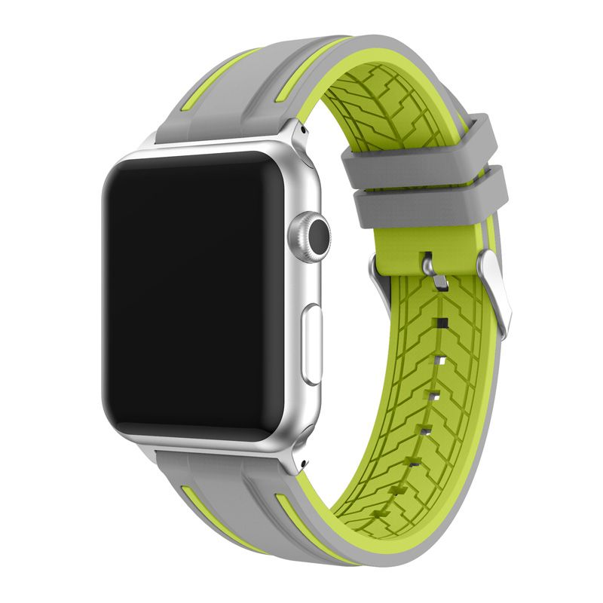 Bracelet Apple Watch 38mm Silicone Souple Bracelet De Remplacement Pour Iwatch Série 3/2/1 Motif Rayures - Gris Et Lime