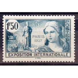 France - Exposition Internationale Paris 1937 1f50 Bleu-Vert (Superbe n° 336) Neuf* - N16537