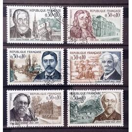 Série Célébrités 1966 - N° 1470 Fourier + 1471 Mansart + 1472 Proust + 1473 Fauré + 1474 Metchnikoff + 1475 Taine Obl - Cote 3,00€ - France Année 1966 - N21198