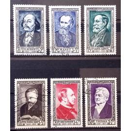 Série Célébrités 1952 - N° 930 Flaubert + 931 Manet + 932 Saint-Saens + 933 Poincaré + 934 Haussmann + 935 Thiers Obl - Cote 60,00€ - France Année 1952 - N21219
